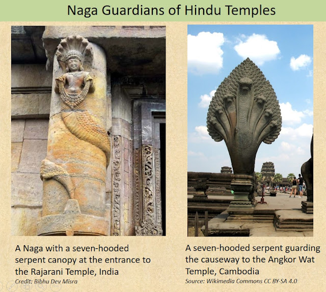 Many Hindu-Buddhist Temples have Nagas depicted at their entrances, functioning as protectors of the sacred realm.