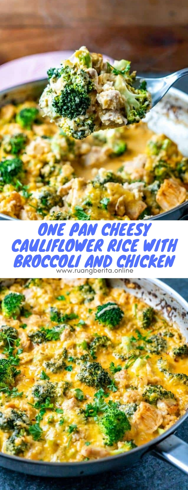 One Pan Cheesy Cauliflower Rice with Broccoli and Chicken #keto #lowcarb #onepan #cheesy #cauliflower #rice #broccoli #chicken