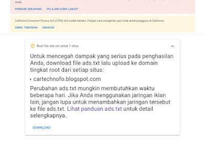 Cara mengatasi masalah ads.txt di blogspot