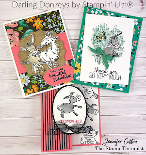 Three cards with Stampin' Up!'s Darling Donkeys Sale-A-Bration stamp set!  These cards also use: Zany Zebras, Textured Essentials, Butterfly Gala, Way to Goat, Pallet Thoughts, and Beautiful Friendship.  The designer paper is Flower & Field Sale-A-Bration. #StampinUp #StampTherapist #SaleABration