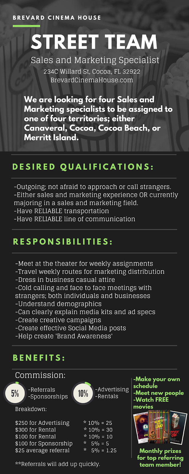 movie theater hiring sales and marketing specialist