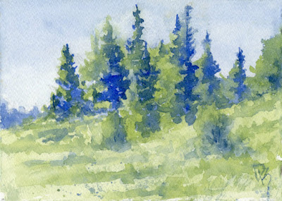 nature landscape art watercolor painting evergreen