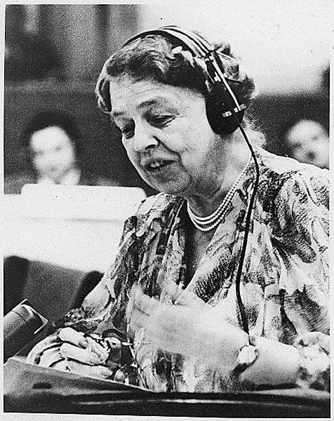 Roosevelt speaking at the United Nations in July 1947