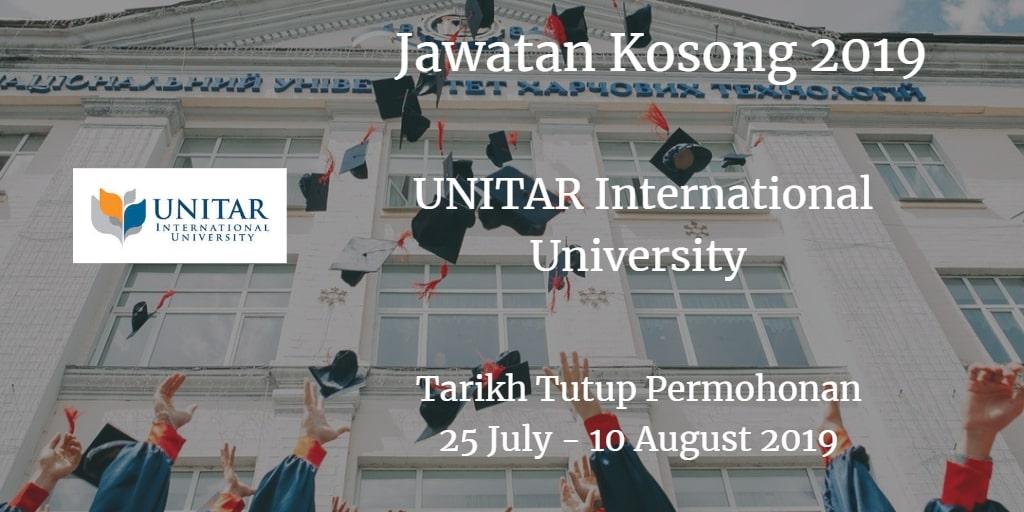 Jawatan Kosong UNITAR International University 25 Julai - 10 Ogos 2019