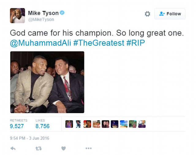 Mike Tyson leads the tributes following Muhammad Ali's death