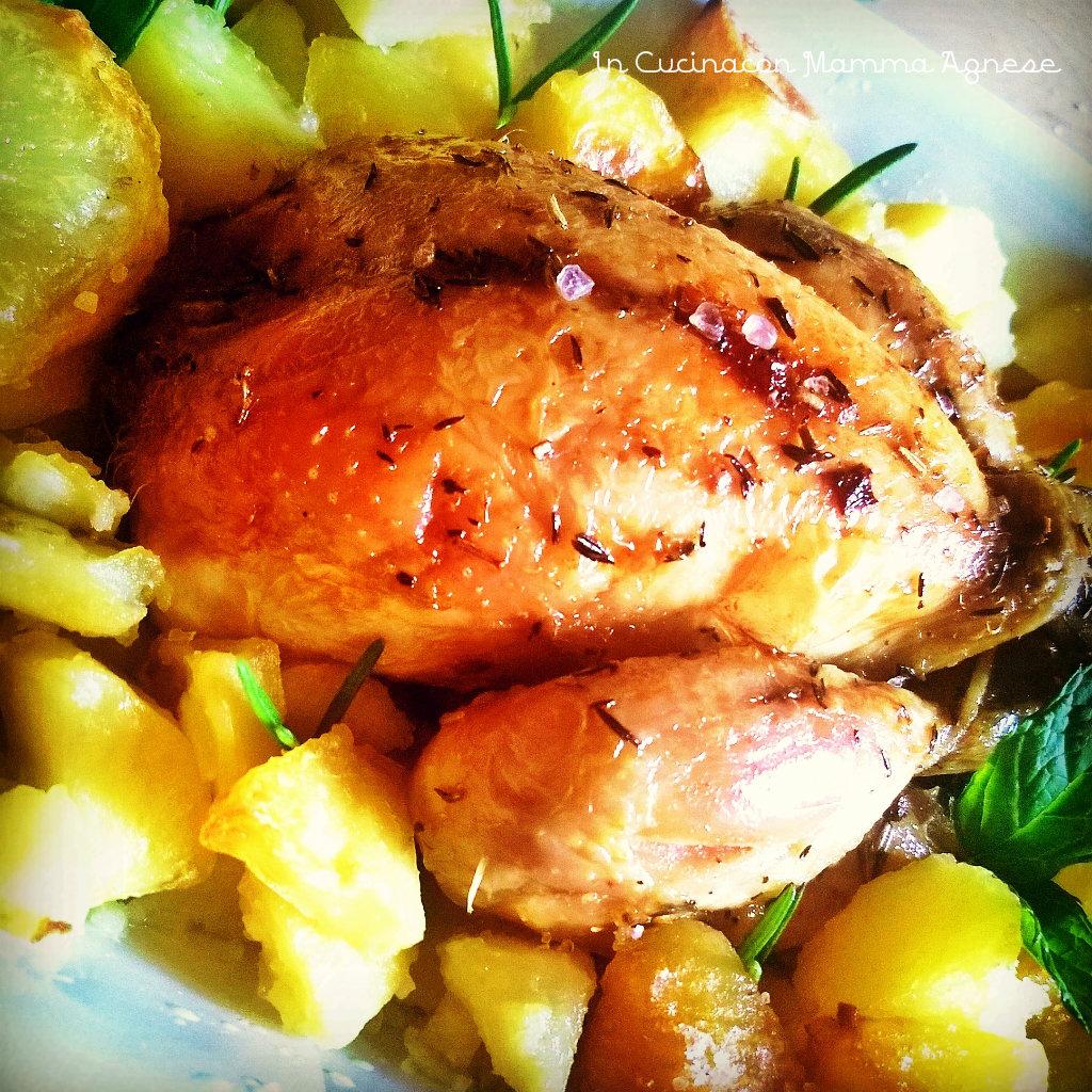 In cucina con mamma agnese galletto al forno con aromi e patate croccanti al rosmarino - Aromi in cucina ...
