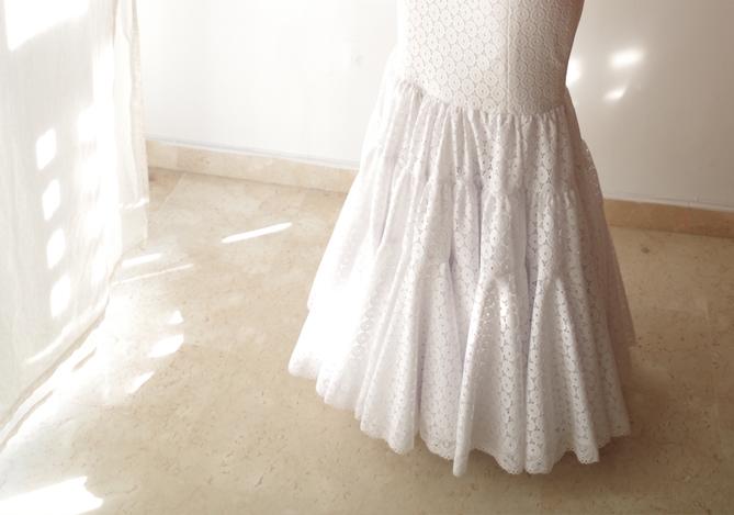 Patrones de flamenca Falda canastera blanca