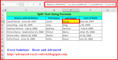Split Cell Content using Excel Formula - Functions MID & SEARCH