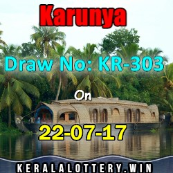 Karunya KR-303 kerala lottery result on 22-7-2017