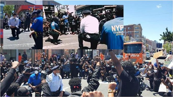 Policías de Nueva York y otras ciudades se arrodillan ante manifestantes en medio de protestas por asesinato de George Floyd