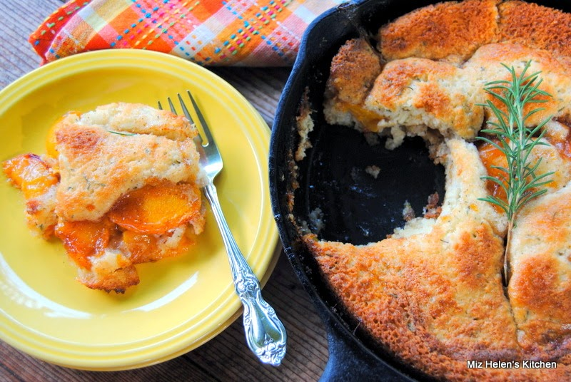 Rosemary Crusted Peach Cobbler at Miz Helen's Country Cottage