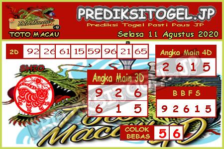 Prediksi Togel Toto Macau JP Selasa 11 Agustus 2020