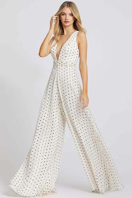 Plunging Neckline Jumpsuit evening dress Ieena For Mac Duggal Polka Dot color