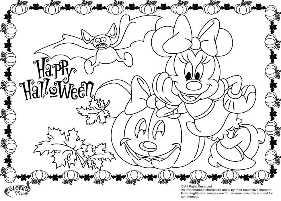 Minnie and mickey mouse coloring pages for halloween for Minnie mouse halloween coloring pages