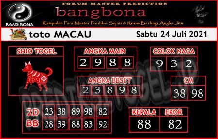 Prediksi Bangbona Toto Macau Sabtu 24 Juli 2021