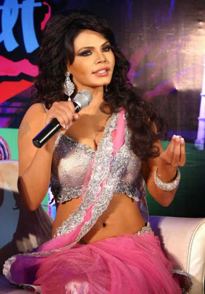 Rakhi Sawant Hot Cleavage and Navel HD Wallpapers in Pink Saree