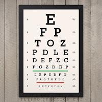 A Snellen eye chart against a grey paneled wall