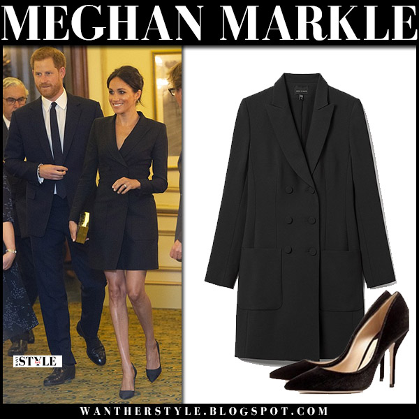 Meghan Markle in black tuxedo double breasted blazer dress judith and charles royal family fashion august 29