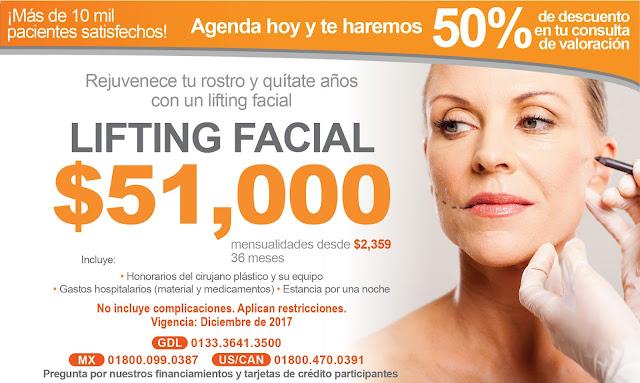 Paquete de Cirugia Plastica Rostro Cara Rejuvenecimiento Facial Ritidoplastfia Precio Guadalajara Mexico
