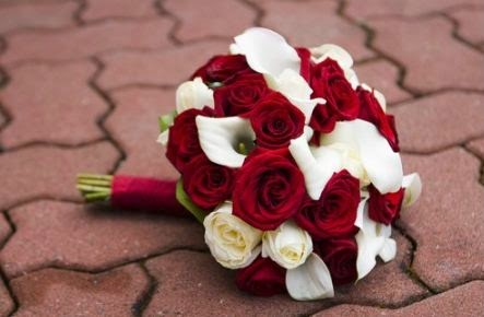 Red Roses And Calla Lilies Wedding Bouquet