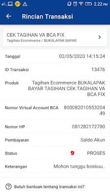Proses Cek Tagihan Virtual Account Bukalapak