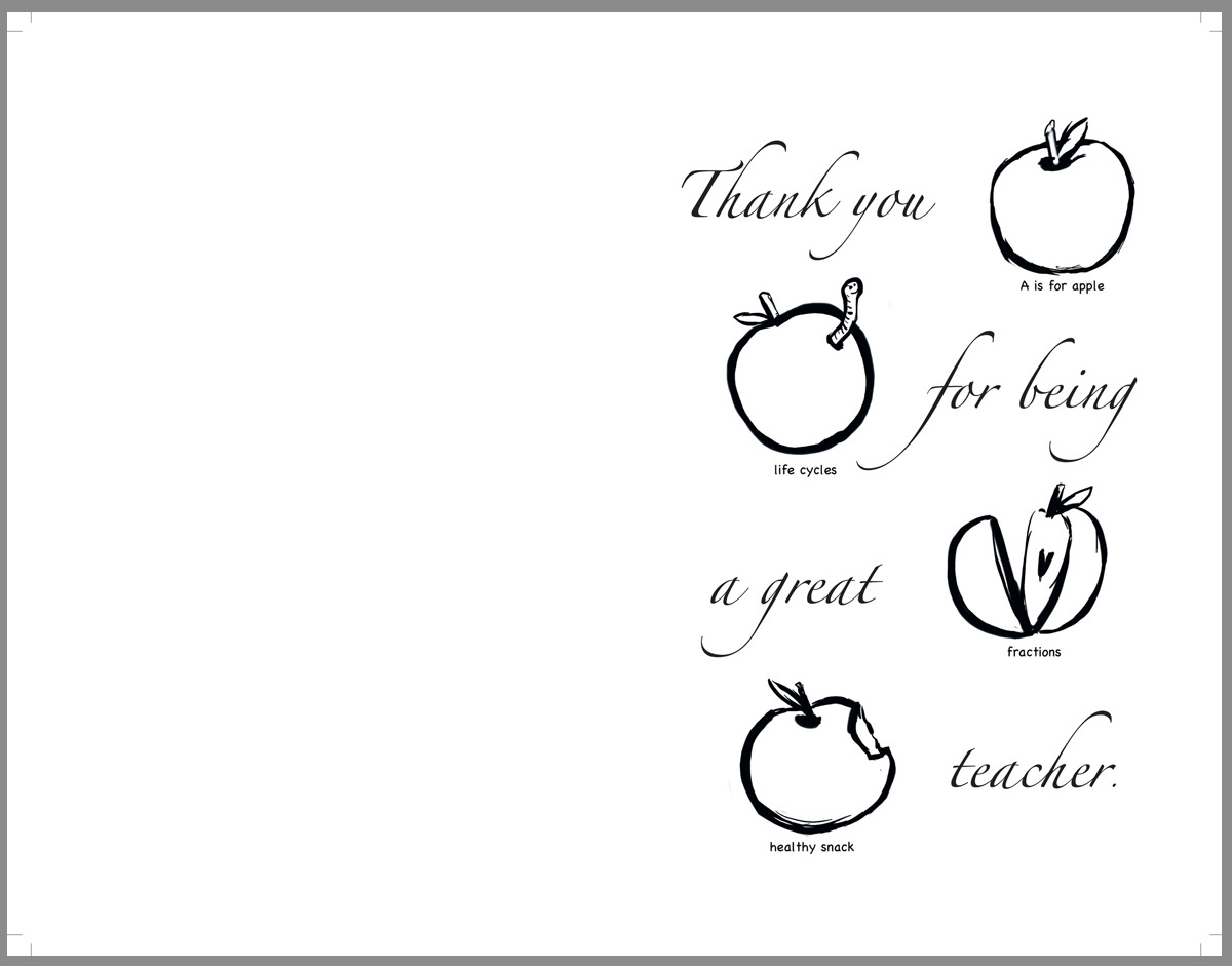 Teacher Thank You Cards Coloring Pages