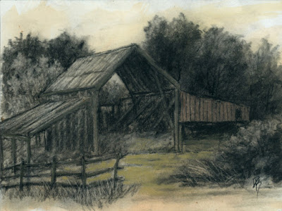 art sketch charcoal rural barn