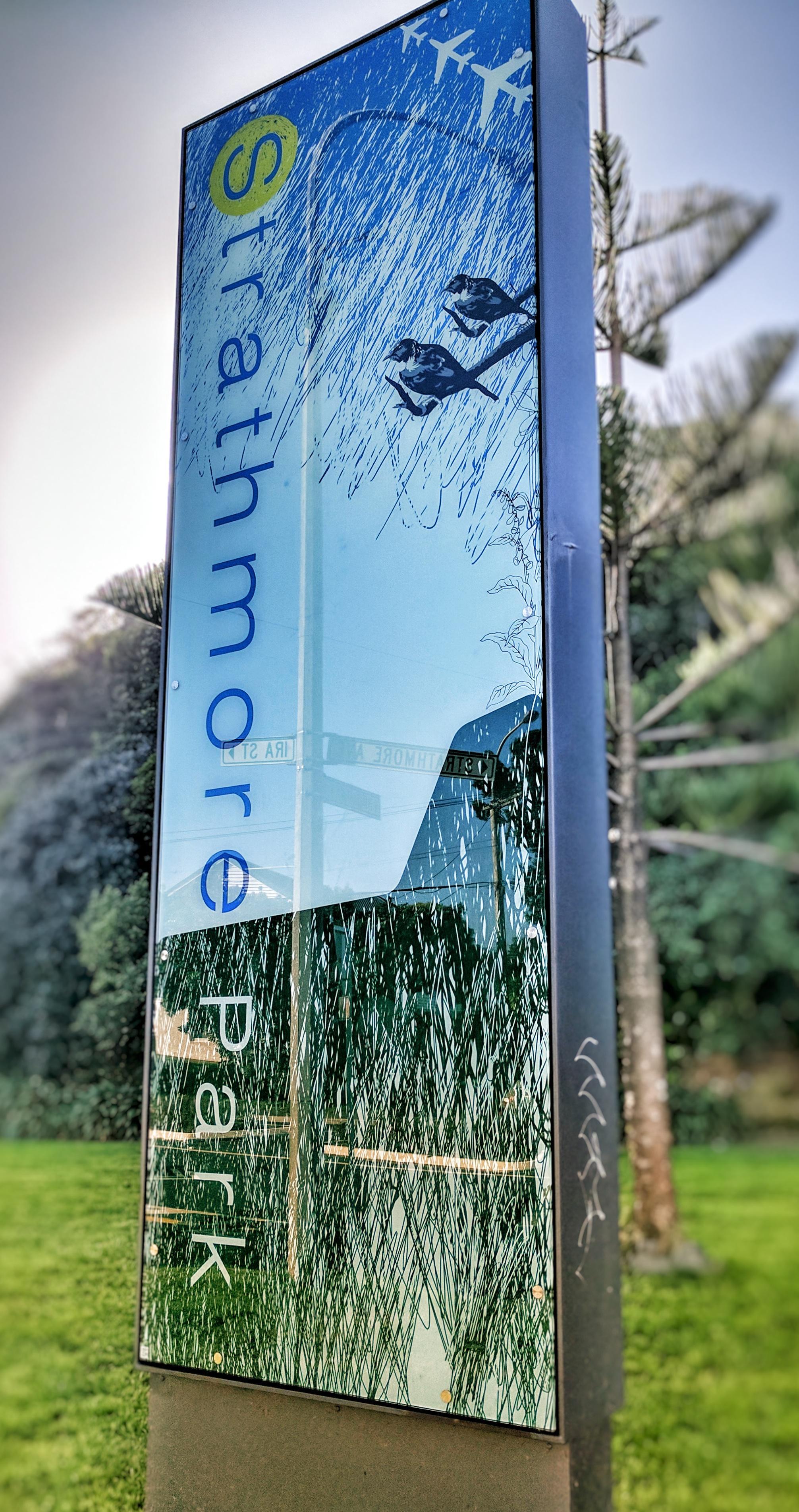 Strathmore Park (Wellington) place sign