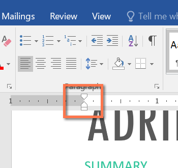 how to create an indent in word