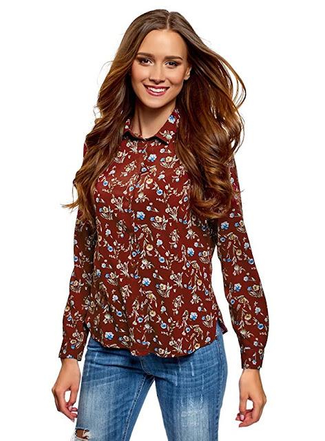 Camicia con stampe floreali