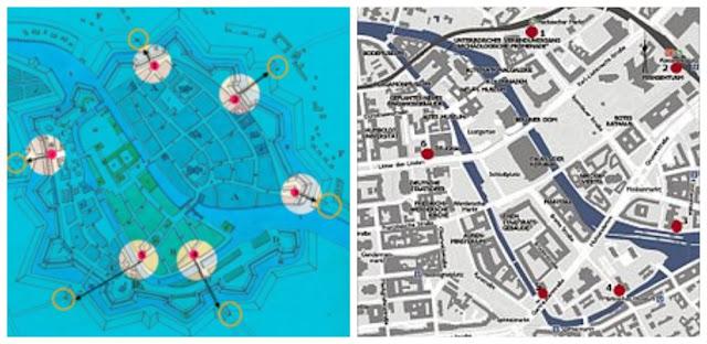 mapa do Stadtmauer Berlin, o muro medieval de Berlim