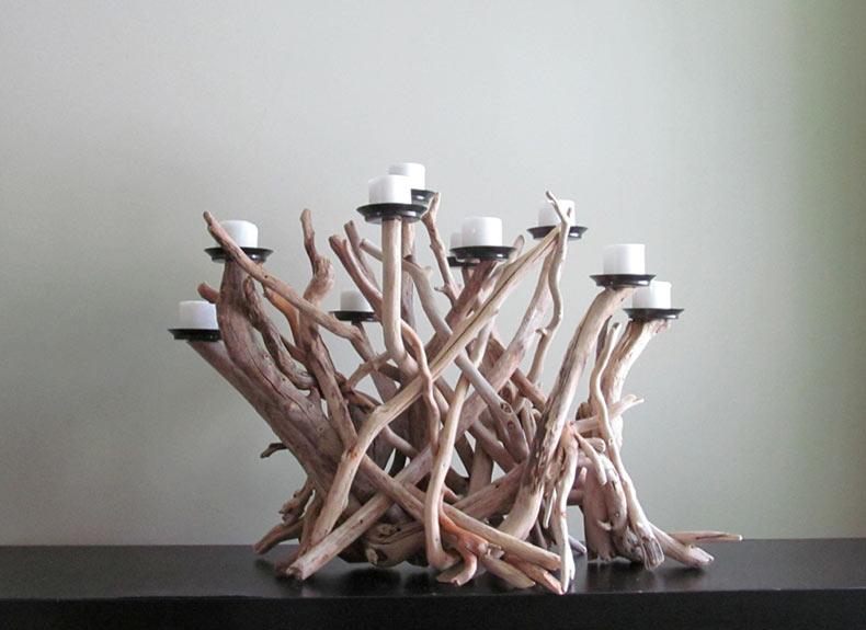 Decoración para el hogar hecho con trozos de madera están inspiradas en la naturaleza