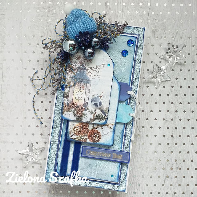kartka na święta w niebieskim