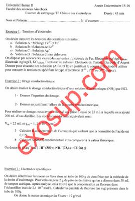contrôles corrigés chimie expérimentale TP chimie des électrolytes smc s3 fsac