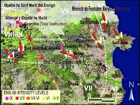 Niveles de intensidad del sismo de 1428