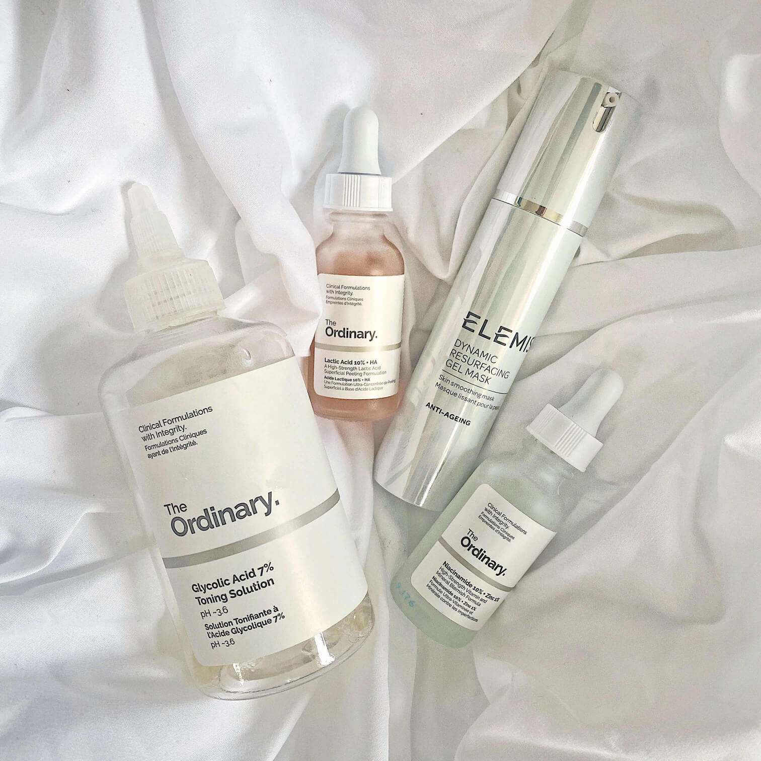 Dynamic resurfacing gel mask by Elemis and The Ordinary products
