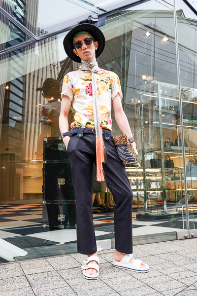Prada fashion, outside the Prada store, Omotesando, Tokyo.