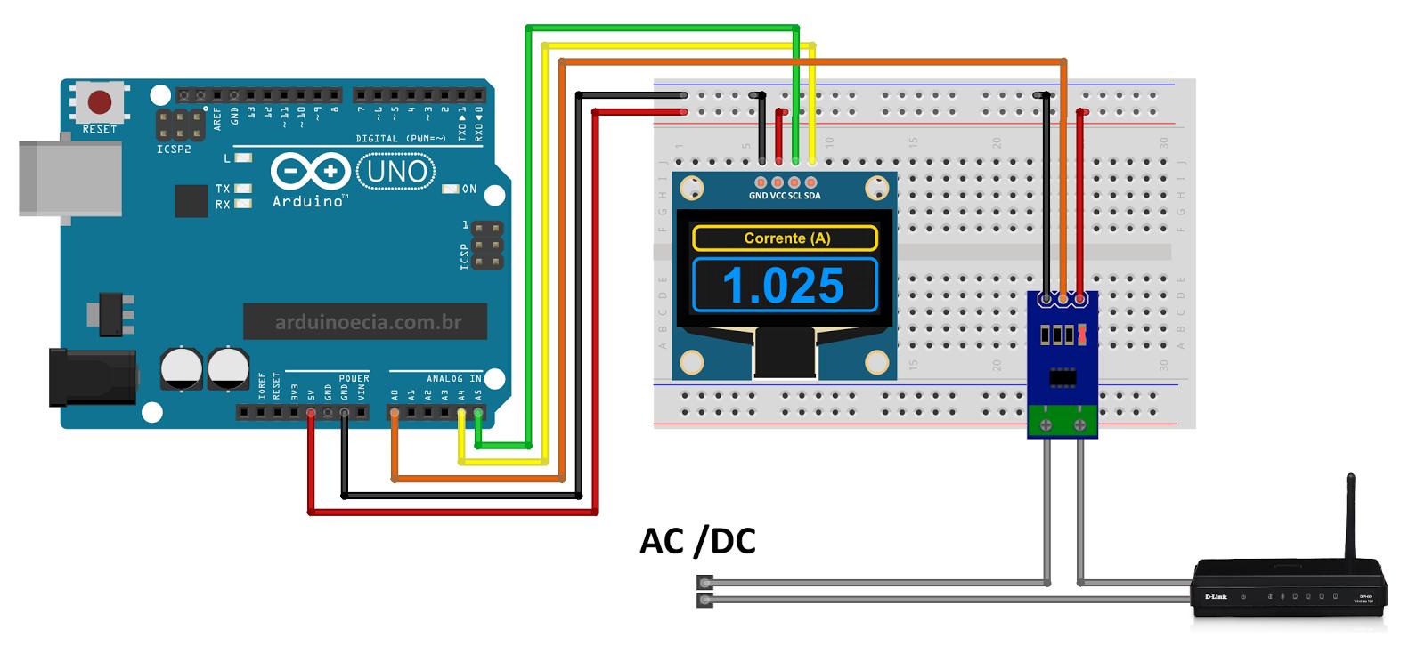 Circuito medidor de corrente ACS712