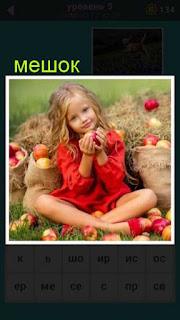 девочка сидит рядом с мешками набитыми красными яблоками 667 слов