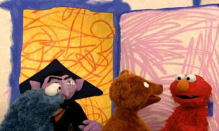 Rosita, Cookie Monster, Telly, Zoe, The Count, Prairie Dawn, Baby Bear, Ernie and Bert, and Grover come in. Guess what Elmo's thinking about today. Sesame Street Elmo's World Friends