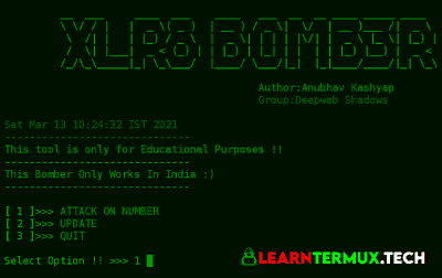 XLR8_BOMBER Termux - SMS and Call Bomber for Termux
