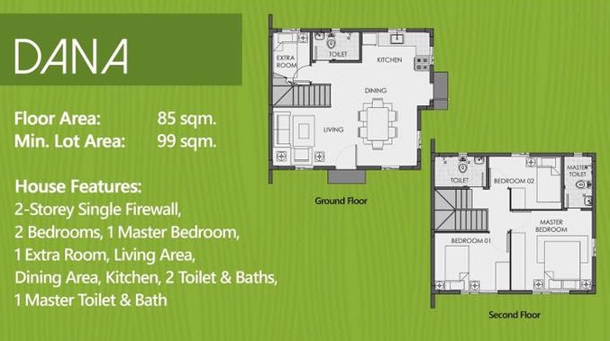 Floor Plan of Dana - Camella Carson | House and Lot for Sale Daang Hari Bacoor Cavite