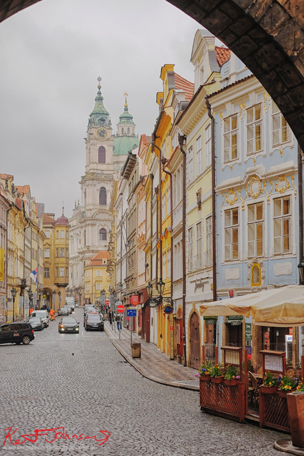 Street view of old Prague near the Charles bridge, photo by Kent Johnson.