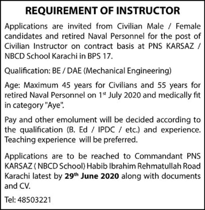 Advertisement of PNS Karsaz NBCD School Karachi Jobs 2020 for Civilian Instructor Latest
