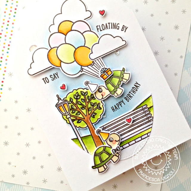 Sunny Studio Stamps: Floating By Turtley Awesome Spring Scenes Spring Showers Birthday Card by Franci Vignoli