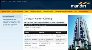 lokasi kantor KC dan KCP bank Mandiri di kota Smg dan Ungaran