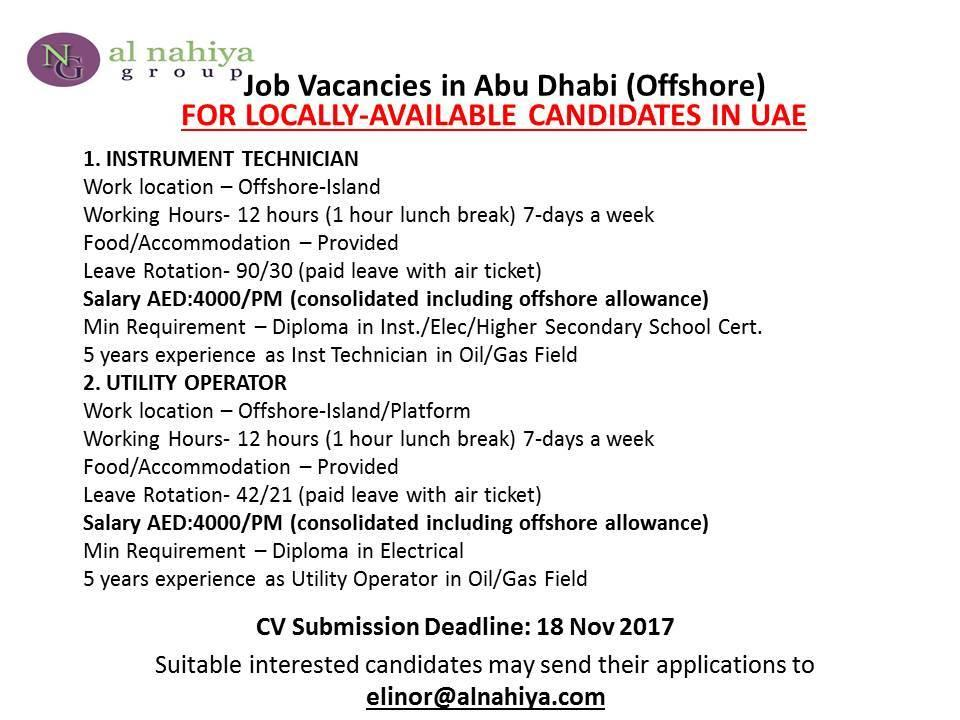 Oil and gas job vacancies: INSTRUMENT TECHNICIAN VACANCY FOR