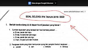 Soal Seleksi OSN IPA SD Tingkat Kecamatan