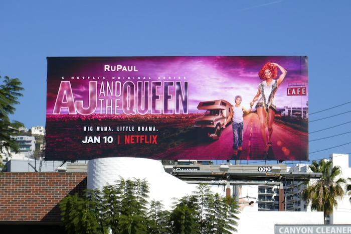 AJ and the Queen series launch billboard