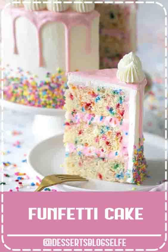 What is a Funfetti Cake? It's a moist vanilla cake with extra sprinkles and topped with pink ganache #DessertsBlogSelfe #preppykitchen #funfetticake #bestfunfetticake #birthdaycake #cakedecorating #cakerecipes #BirthdayDesserts #easy
